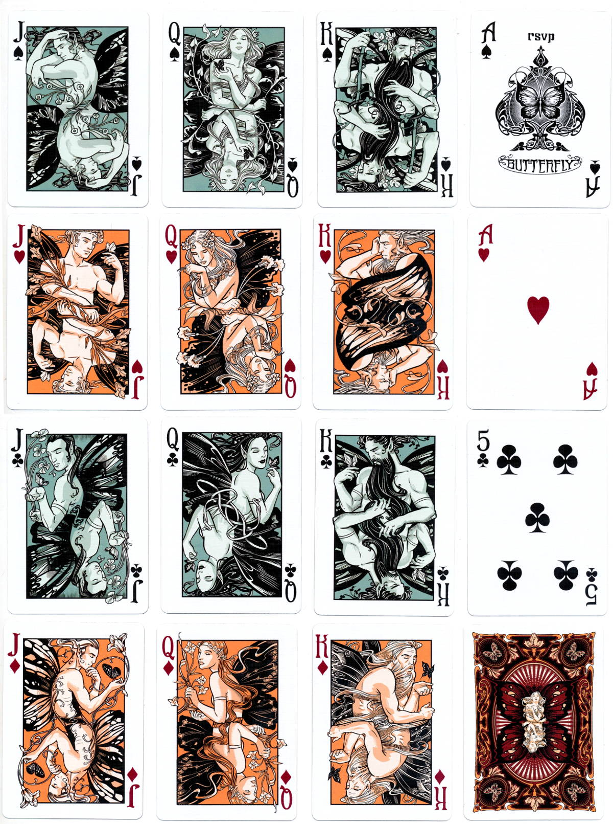 Bicycle 'Butterfly' playing cards printed by USPCC, 2012