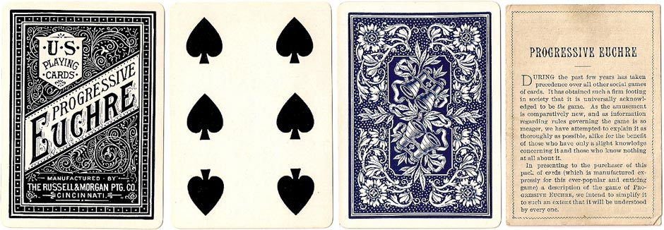 Cabinet No.707 playing card backs manufactured by the Russell & Morgan Printing Co, Cincinnati, c.1888