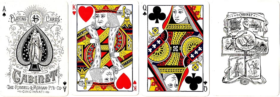 Cabinet No.707 playing cards manufactured by the Russell & Morgan Printing Co, Cincinnati, c.1888