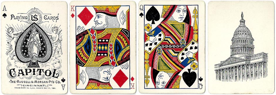 """Capitol #188"" brand playing cards manufactured by Russell & Morgan Printing Co., Cincinnati, c.1886"