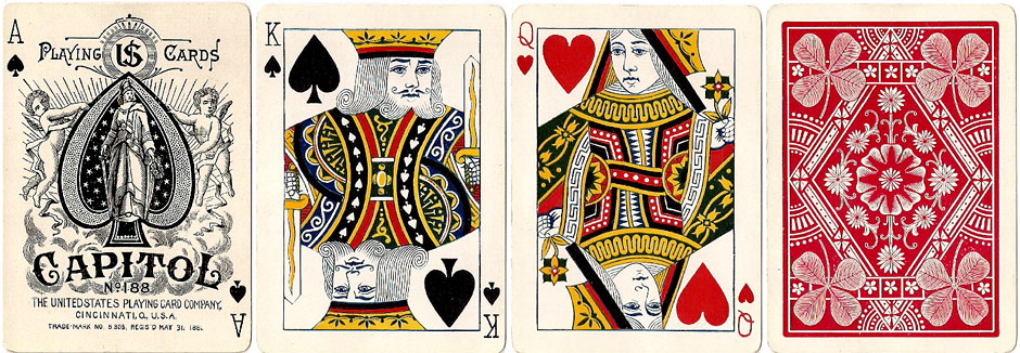 """Capitol #188"" brand playing cards manufactured by The United States Playing Card Co., c.1895"