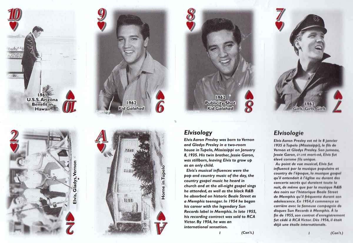 Elvis Presley playing cards published by The United States Playing Card Company, c.2002