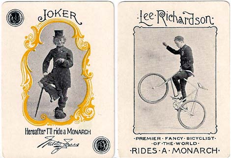 Jokers from Monarch Bicycle playing cards manufactured by U.S.P.C.C. in 1895