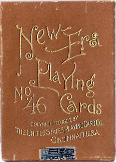 Box from 'New Era No.46' playing cards first published in 1896 by the United States Playing Card Co., Cincinnati