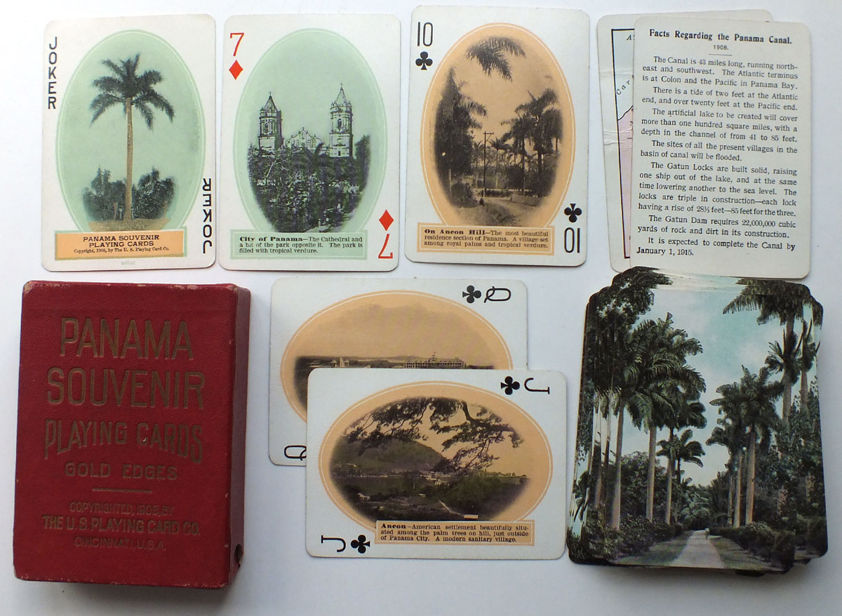 1st edition of Panama Souvenir playing cards published by U.S. Playing Card Co., 1908