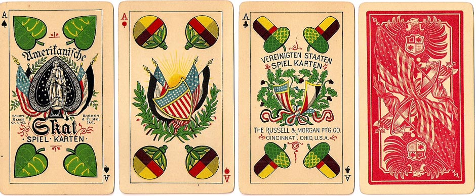 Skat No.1 German-style playing cards manufactured by the Russell & Morgan Printing Co., Cincinnati, USA, c.1889