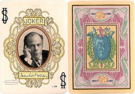 Joker and back design, Stage Playing Cards, 1908