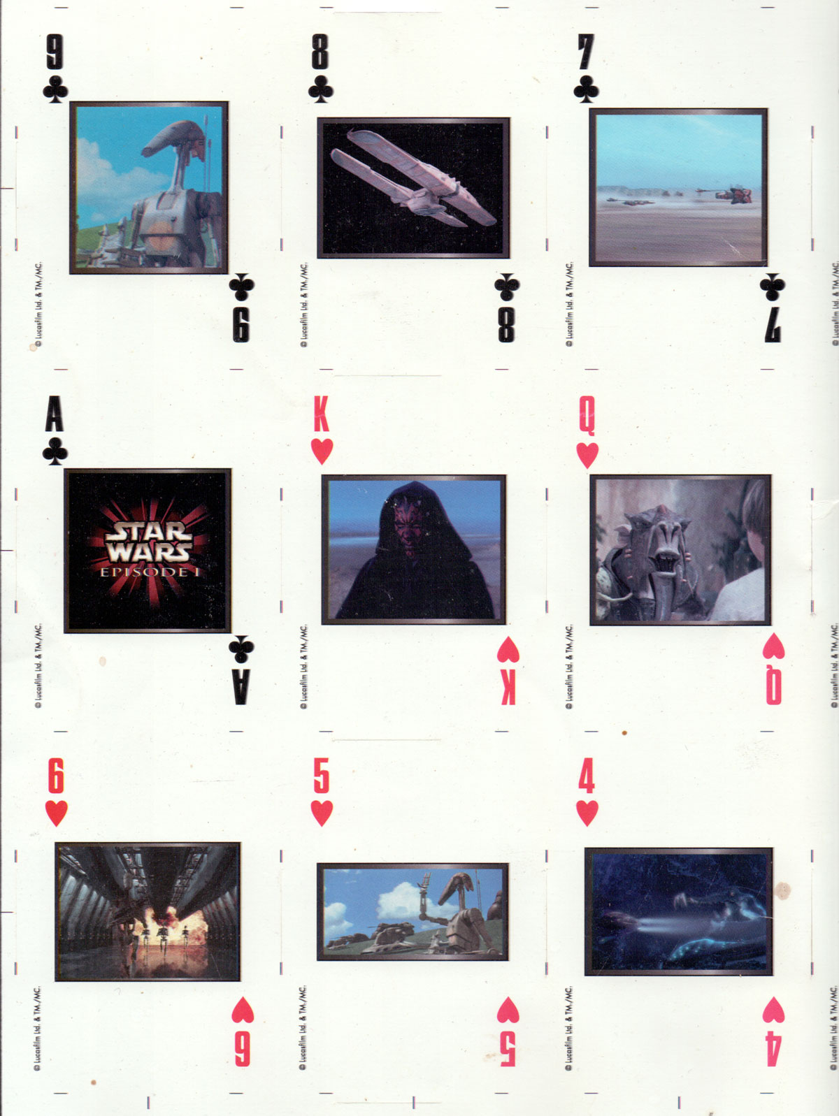 Detail from uncut sheet of STAR WARS Episode 1 playing cards printed by U.S. Playing Card Co., c.1999