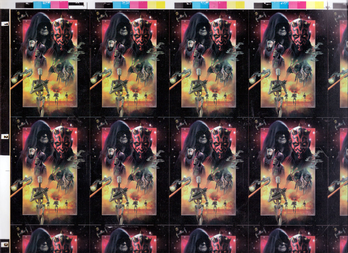 Back from uncut sheet of STAR WARS Episode 1 playing cards printed by U.S. Playing Card Co., c.1999