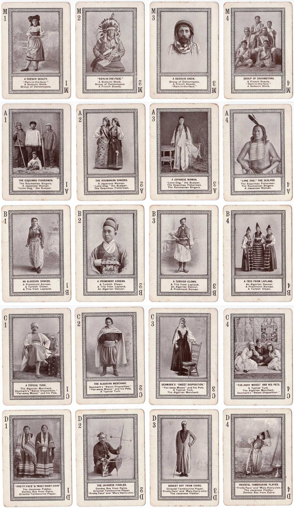 """Strange People"" card game produced by the Fireside Game Co., Cincinnati, 1895"