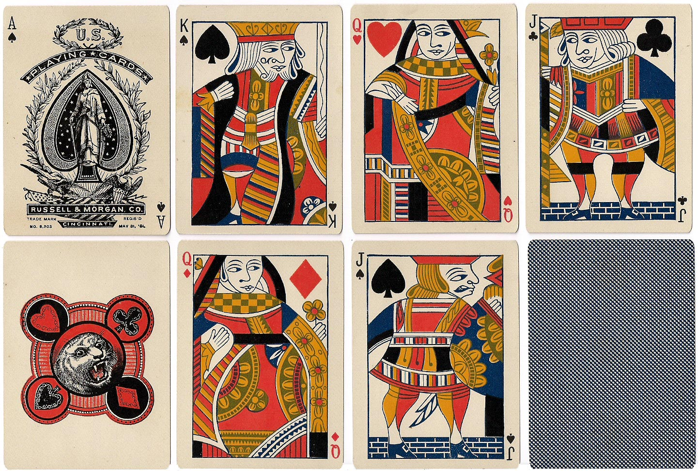 Tigers No.101 playing cards manufactured by Russell & Morgan Co., c.1881
