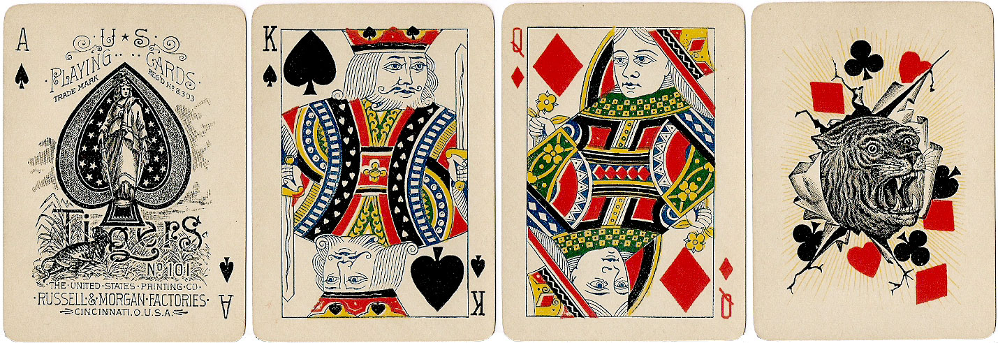 Tigers No.101 playing cards manufactured by the United States Printing Co., Russell & Morgan Factories, c.1891