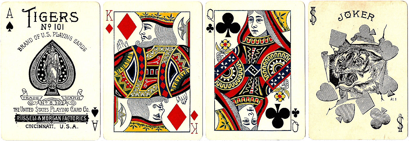 Tigers No.101 playing cards manufactured by the United States Playing Card Co, Russell & Morgan Factories, c.1895