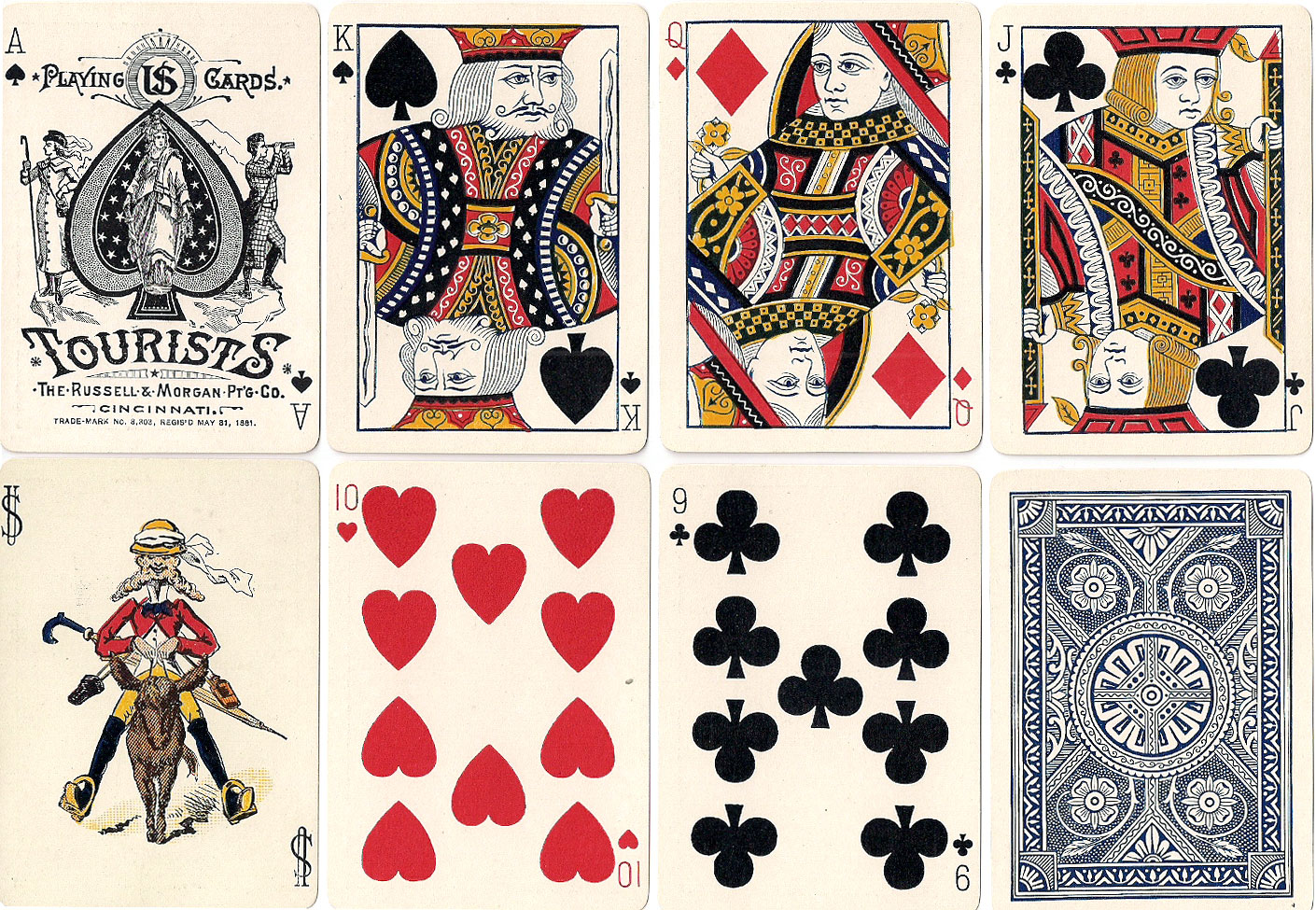 Tourists No.155 playing cards manufactured by the Russell & Morgan Printing Co., c.1886