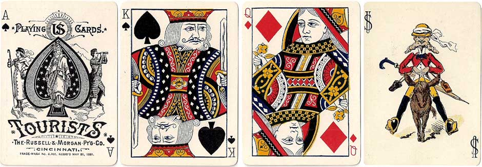"""Tourists No.155"" playing cards manufactured by Russell & Morgan Printing Co., Cincinnati, c.1886"