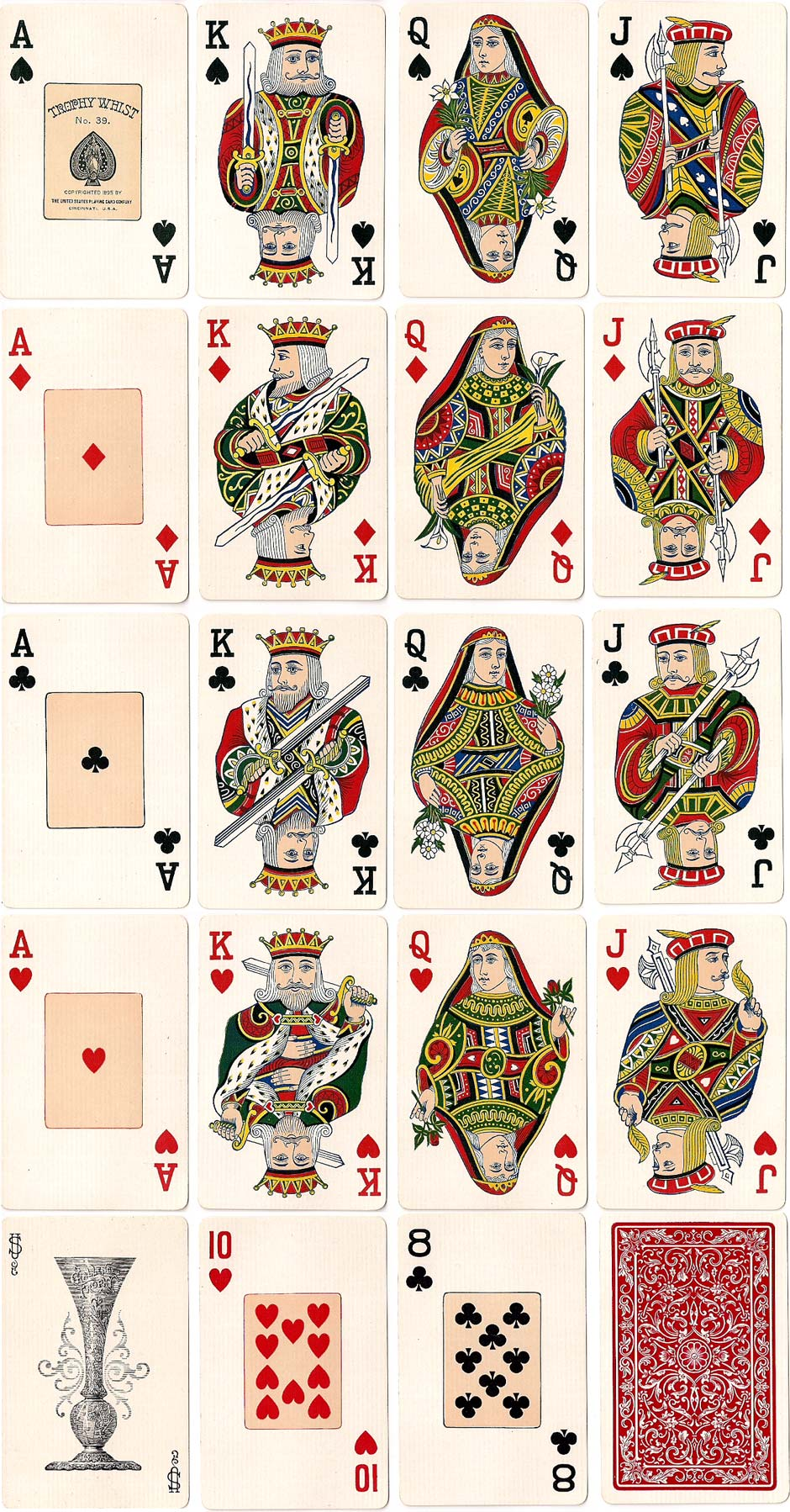 Trophy Whist No.39 playing cards published by the the United States Playing Card Co., 1895