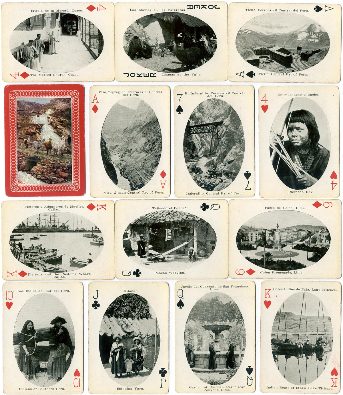 Vistas del Perú souvenir deck, made in USA and imported by Edw. E. Muecke, Lima, Peru, c.1940