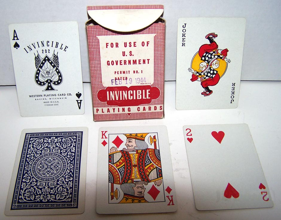 'Invincible 202' playing cards manufactured by Western Playing Card Co., 1944