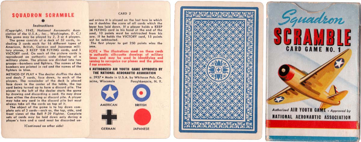 'Squadron Scramble' card game no.1 for identifying military planes, Whitman Publishing Co., Racine, Wisconsin, 1942