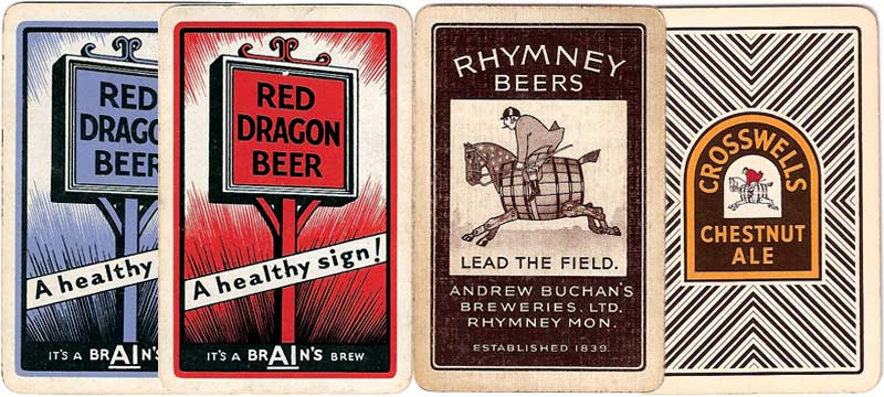 Brain's and Rhymney Beer advertising playing cards