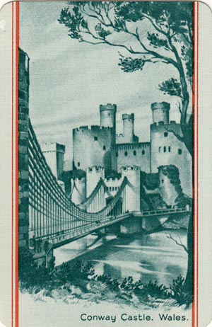 Card depicting Conwy Castle from Waddington's Beautiful Britain series, 1950s