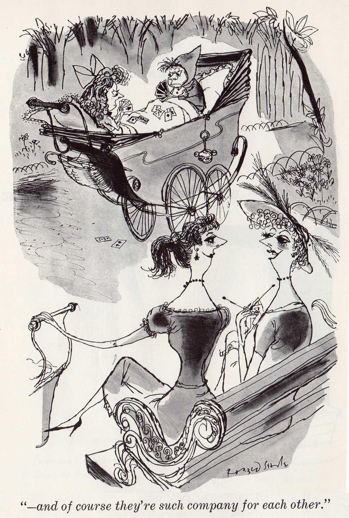 cartoon drawn by Ronald Searle, 1954