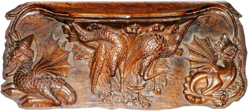 Chester Cathedral choir stall misericord, late 14th century