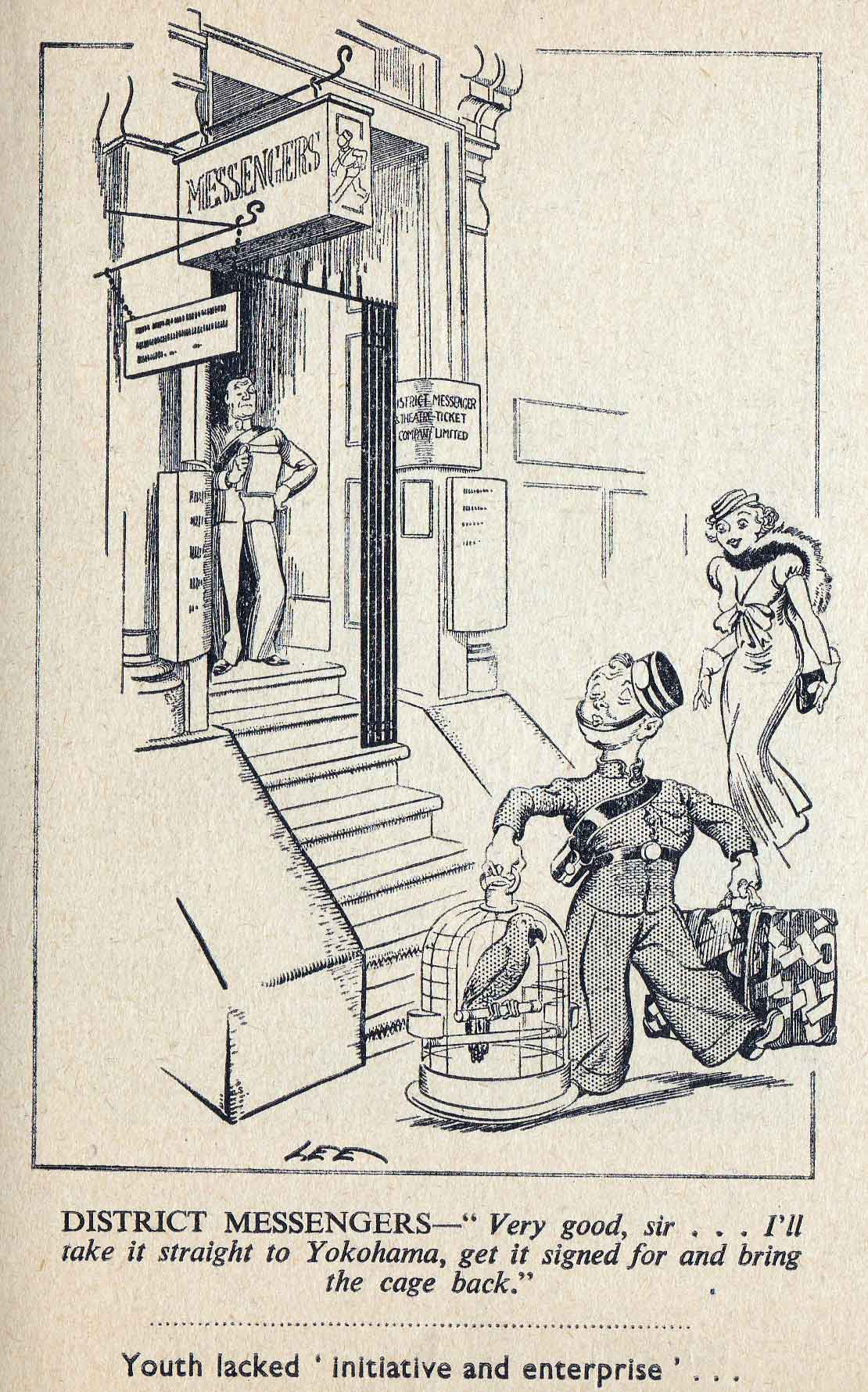 "Cartoon in a book called ""London Laughs"" containing cartoons by ""Lee"" in the Evening News between 1934 and 1951"