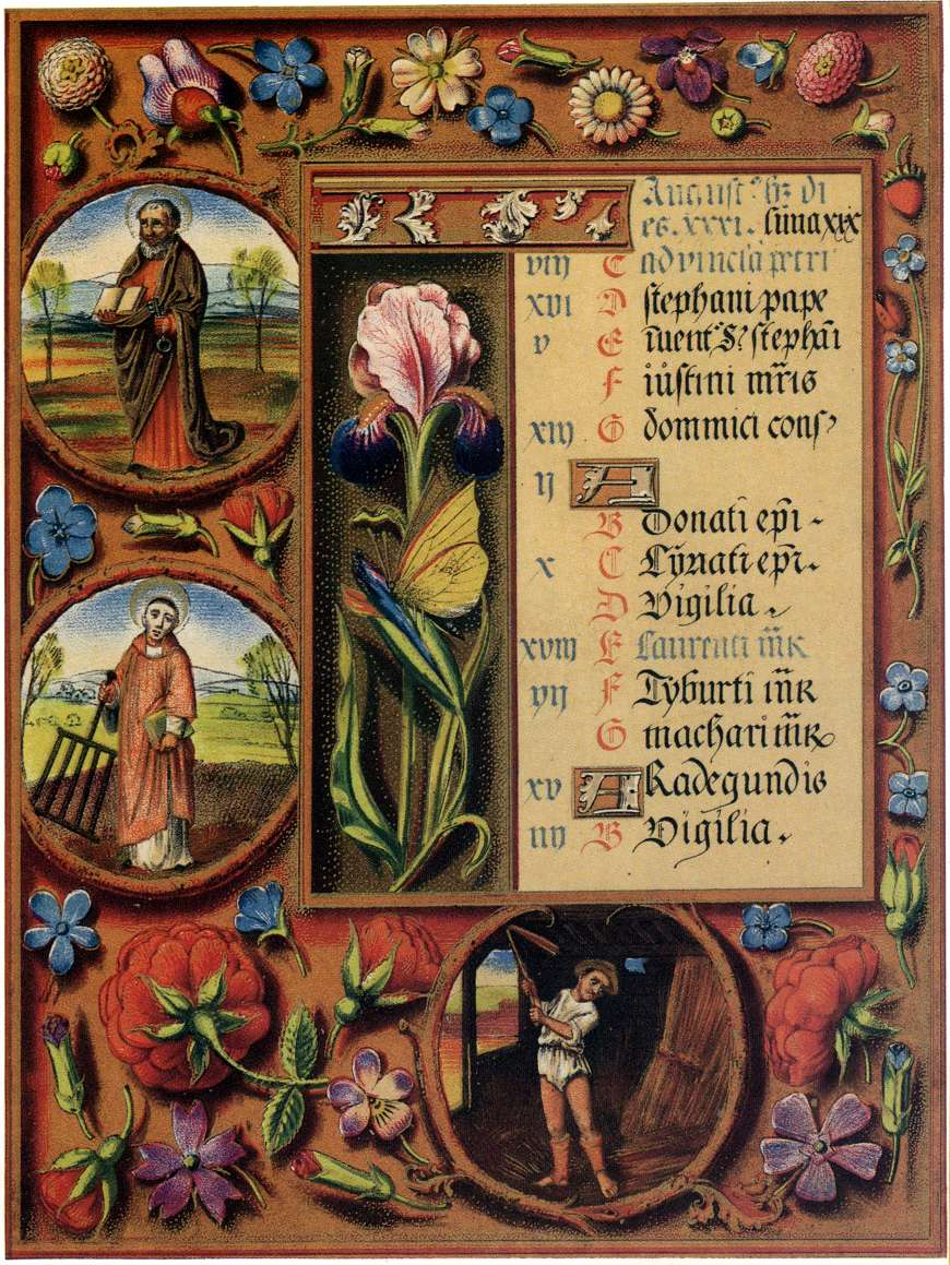 early 16th century Missal with naturalistic flowers strewn in borders