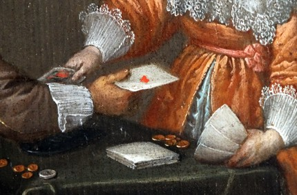 detail from 'Man and Woman Playing Cards', circle of Anthoine Palamedesz, 17th century
