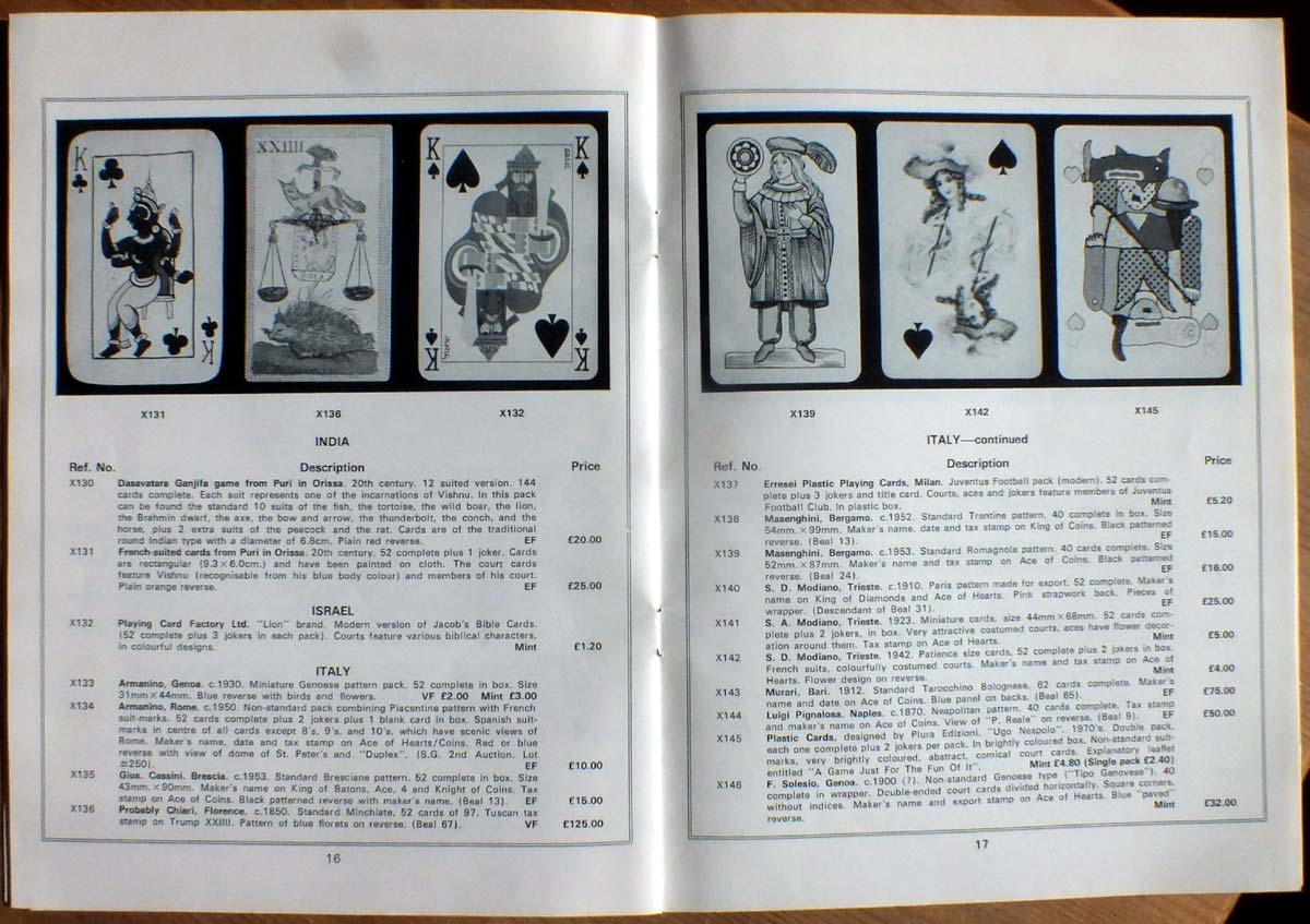Old Stanley Gibbons illustrated playing card catalogue c.1978
