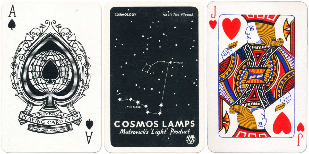 advertising deck for Cosmos Lamps by Universal Playing Card Co (Alf Cooke), c.1939