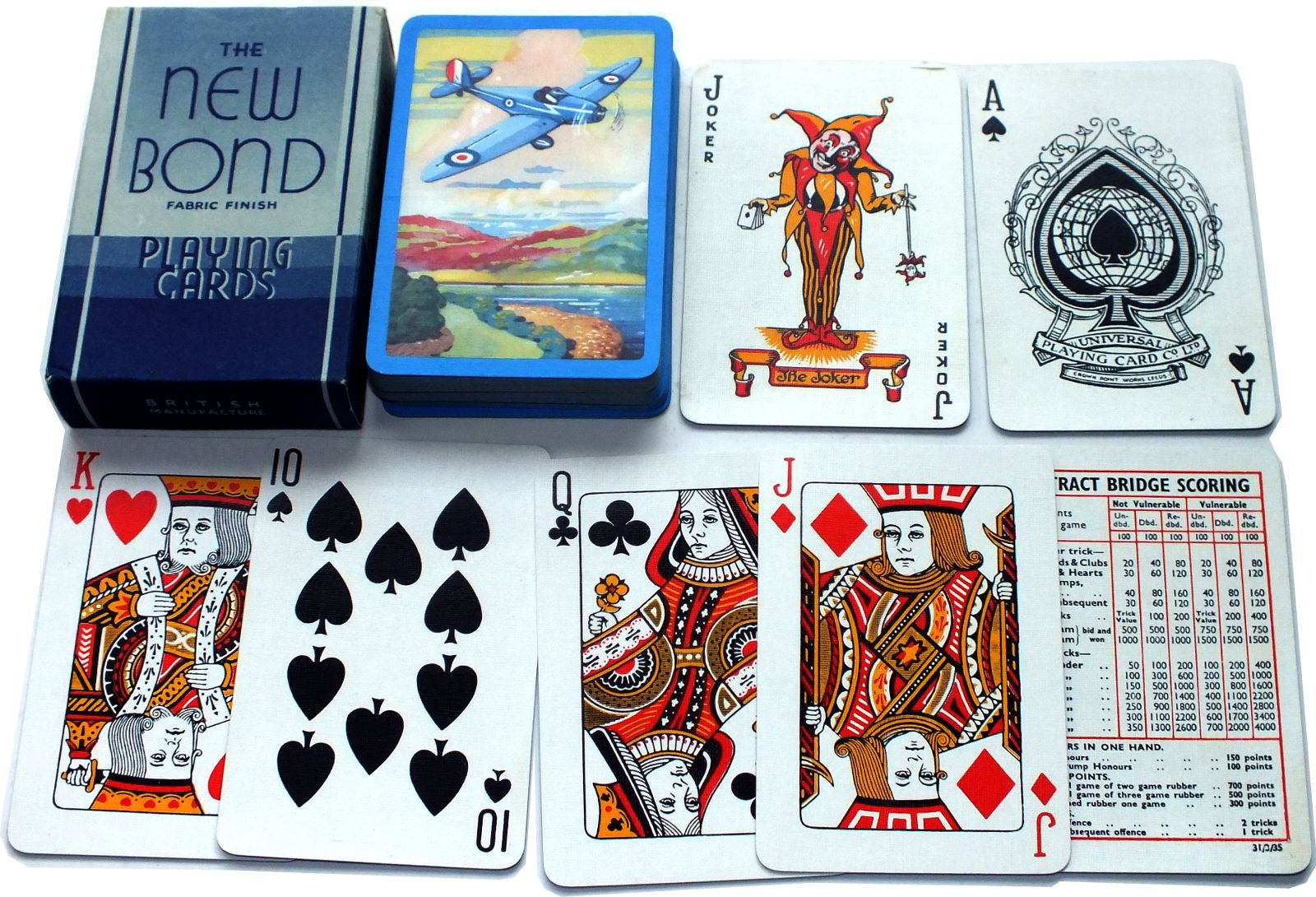 The New Bond Fabric Finish Playing Cards, made by the Universal Playing Card Co. Ltd