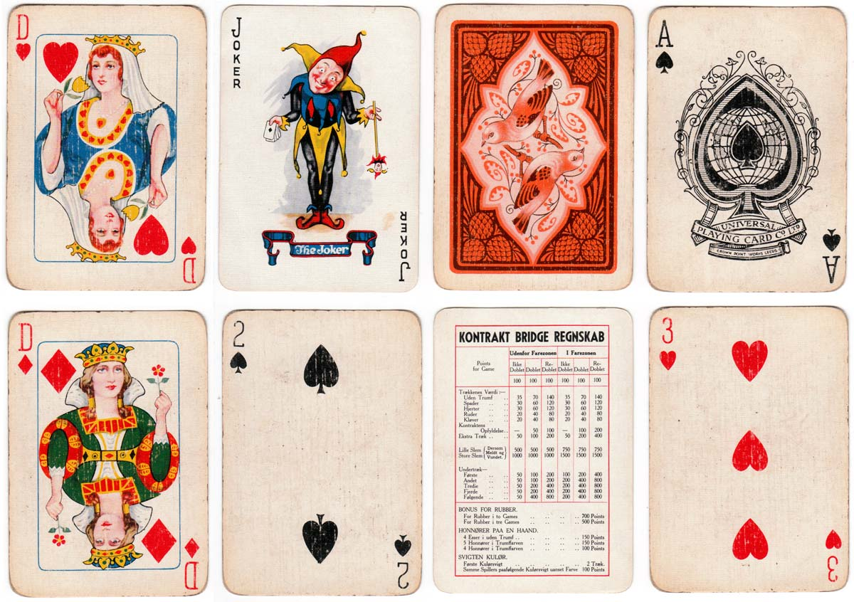 Universe No.100 playing cards manufactured by Universal Playing Card Co. Ltd, c.1933