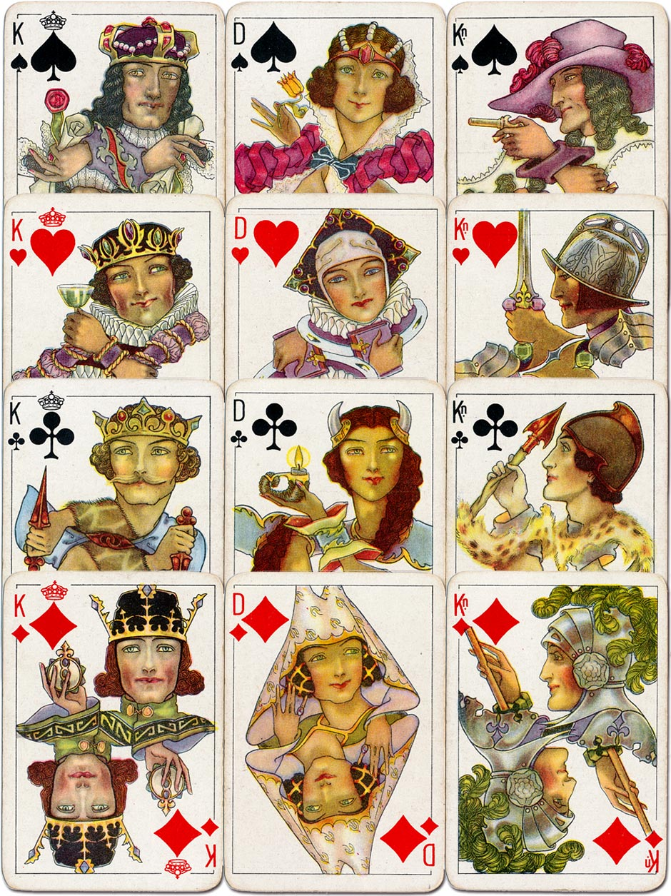 """""""Warburg Luxus Bridgekort"""" designed by Barbara MacDonald and printed by Universal Playing Card Co. Ltd in c.1930"""