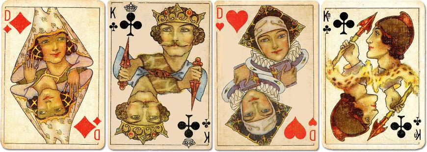 Warburg's Luxus Bridgekort designed by Barbara MacDonald and printed by Universal Playing Card Co. Ltd in c.1930.