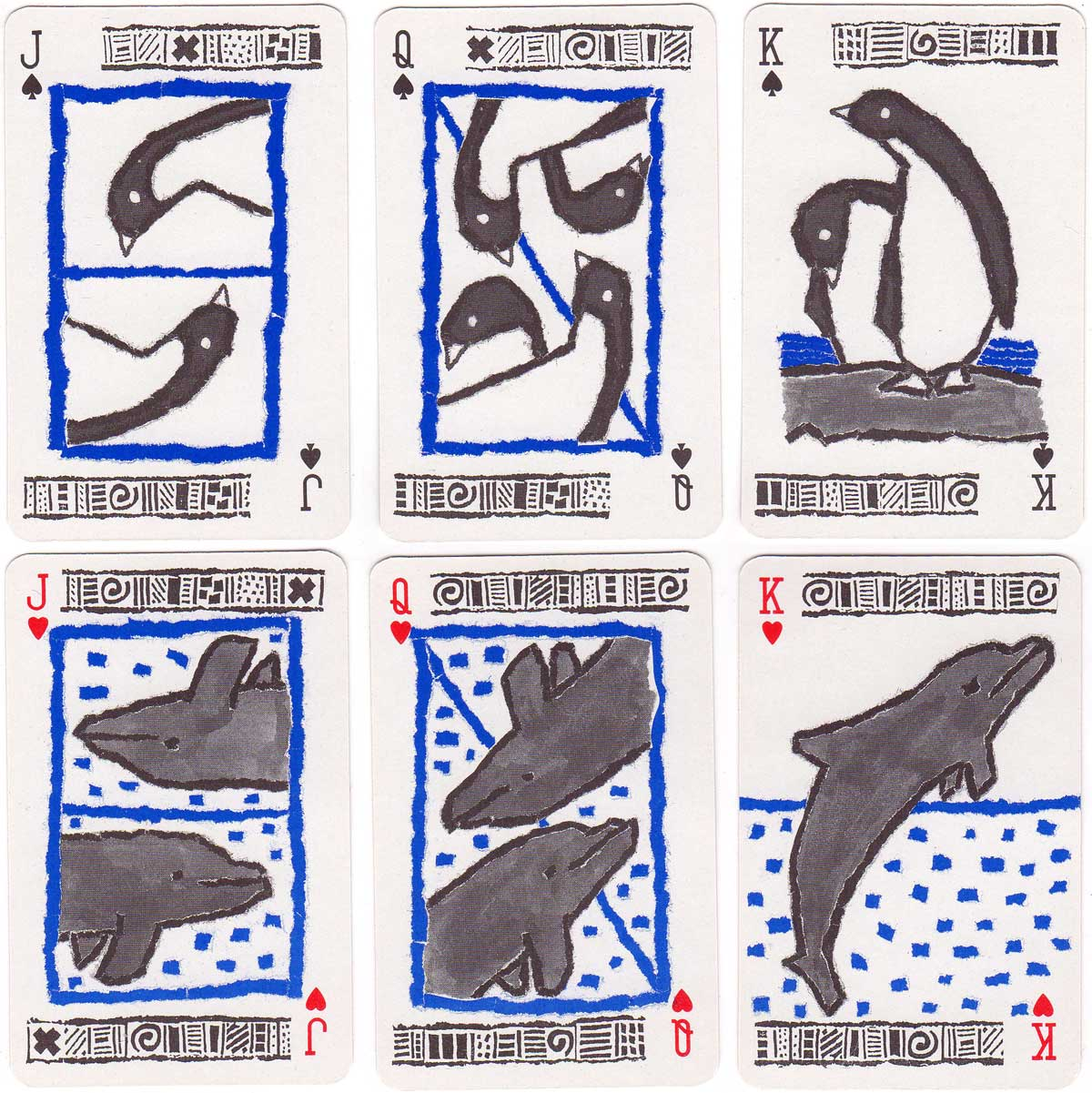Campaign deck for Greenpeace with naive drawings of penguins, seals, whales and dolphins, c.2018