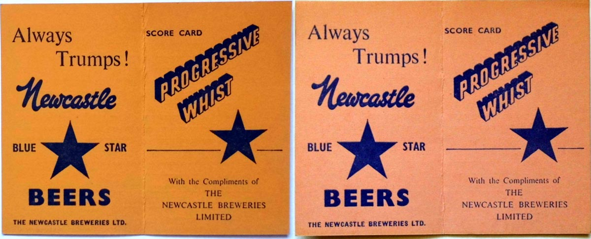 Newcastle Brewery Whist score cards