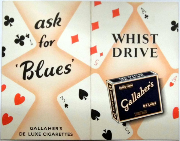 Gallaher's Whist score cards