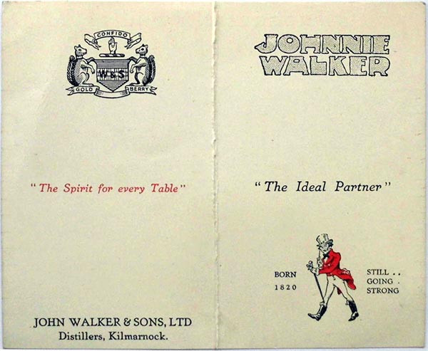 Johnny Walker Whist score card