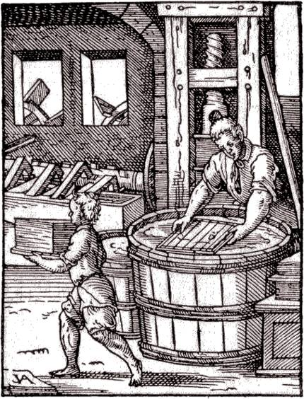 Paper Production, a woodcut illustration by Jost Amman from The Book of Trades, 1568