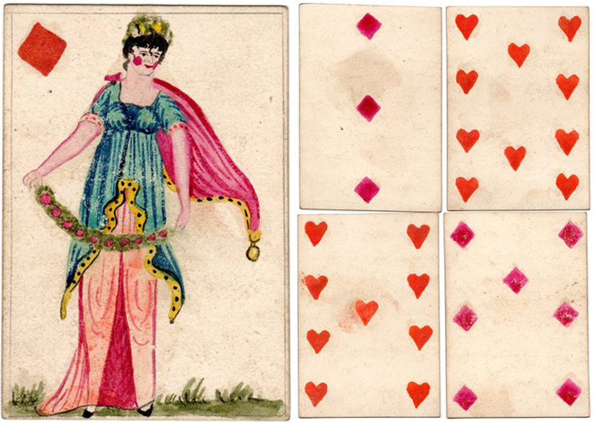 Hand-made cards by French prisoners of war c.1796