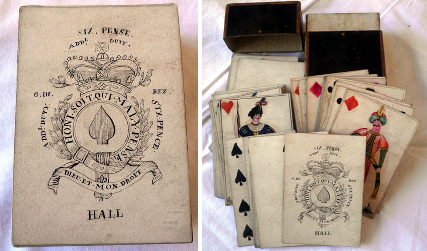 Hand-made playing cards by French prisoners of war in Porchester Castle, Hampshire, c.1796