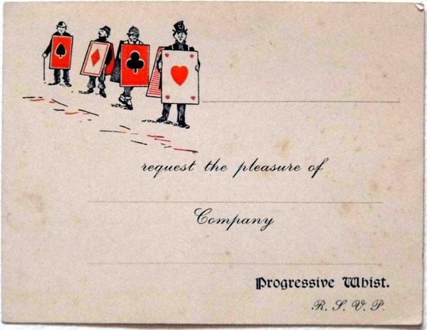 progressive whist invitation card