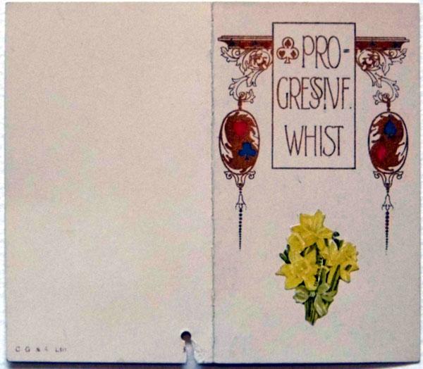 Progressive Whist score card