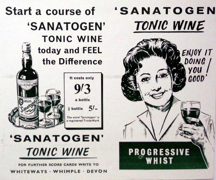 Sanatogen Tonic Wine Whist score cards