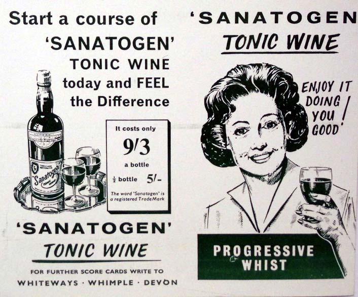 Sanatogen Tonic Wine Whist score cards