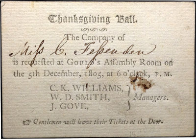 playing card back used for invitation, 1805