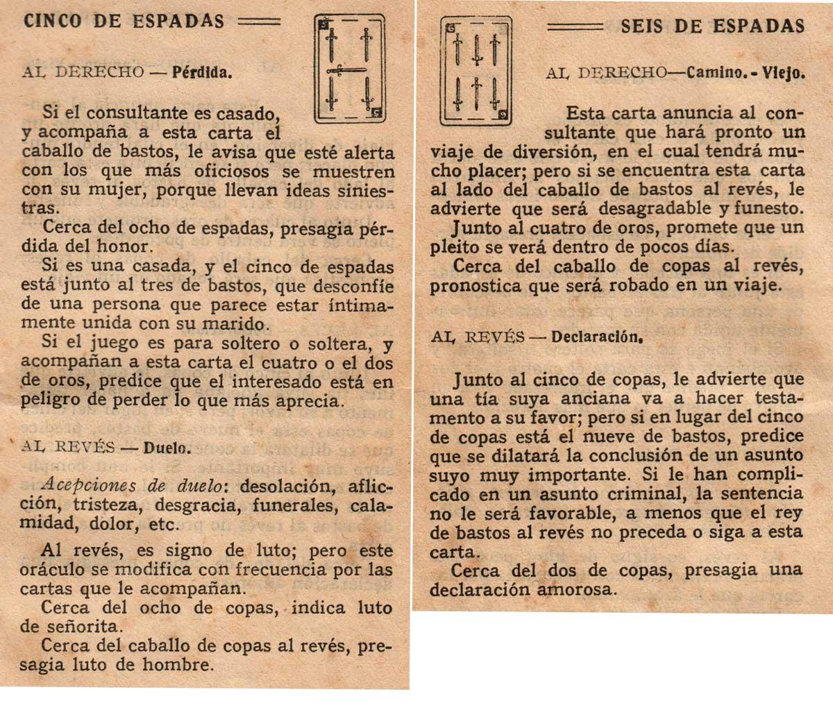 Significado de los Naipes Españoles según Benita la Bruja predijo en el siglo XVI, Chocolates Nelia, c.1932
