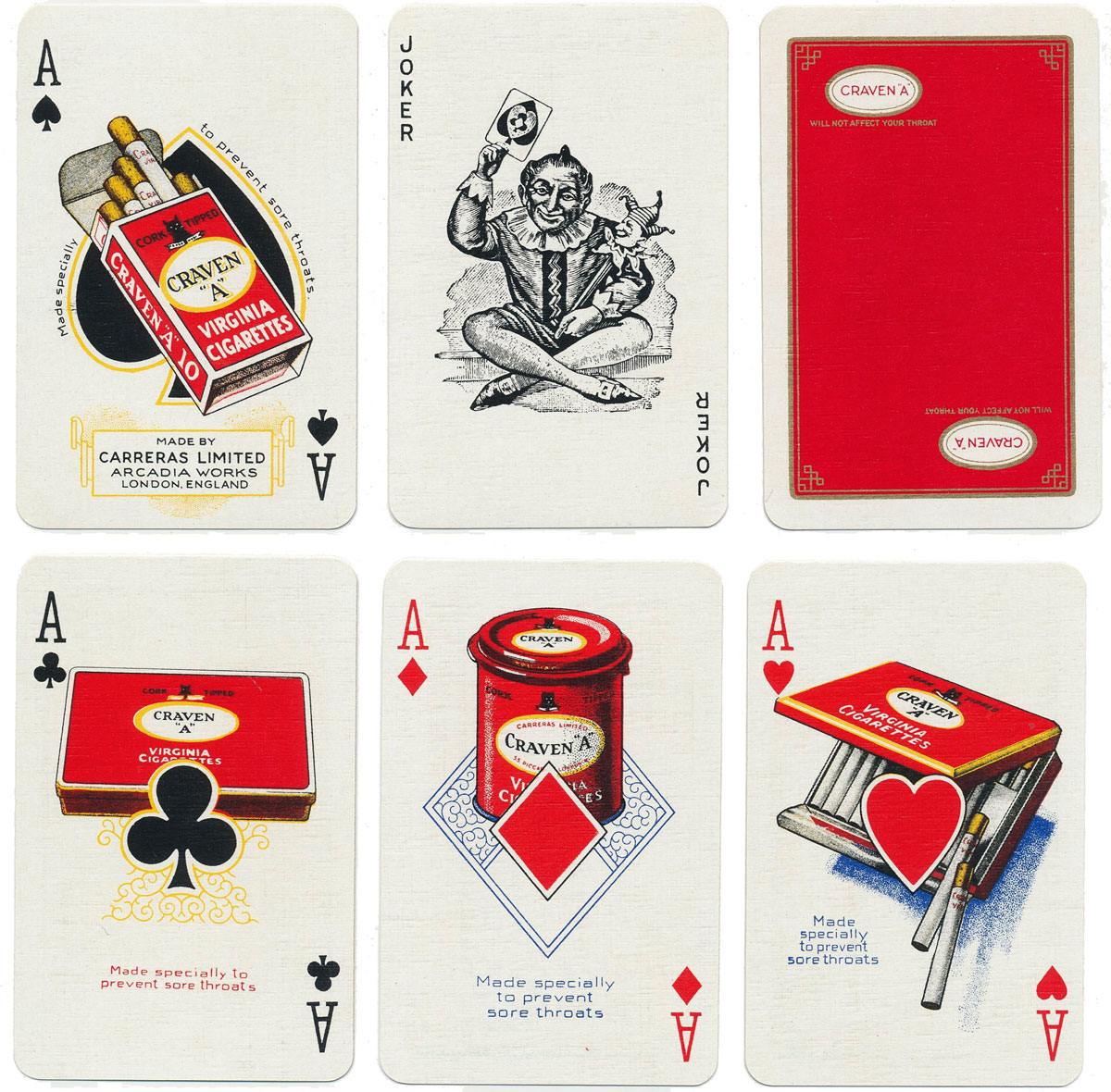 deck advertising Craven A Cigarettes by De La Rue, mid-to-late 1940s